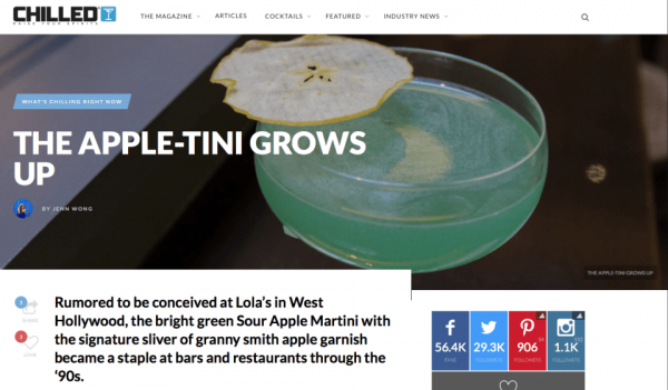 The Apple-tini Grows Up for chilled Magazine