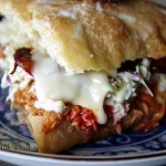 BBQ Chicken on Ciabatta with Muenster and Hot Candied Bacon