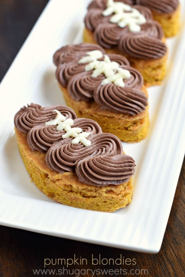 Are you ready for some FOOTBALL?? These Pumpkin Football Blondies are chewy and flavorful, with the perfect amount of chocolate frosting on top!