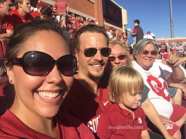 Cheering on the Sooners in Memorial Stadium.