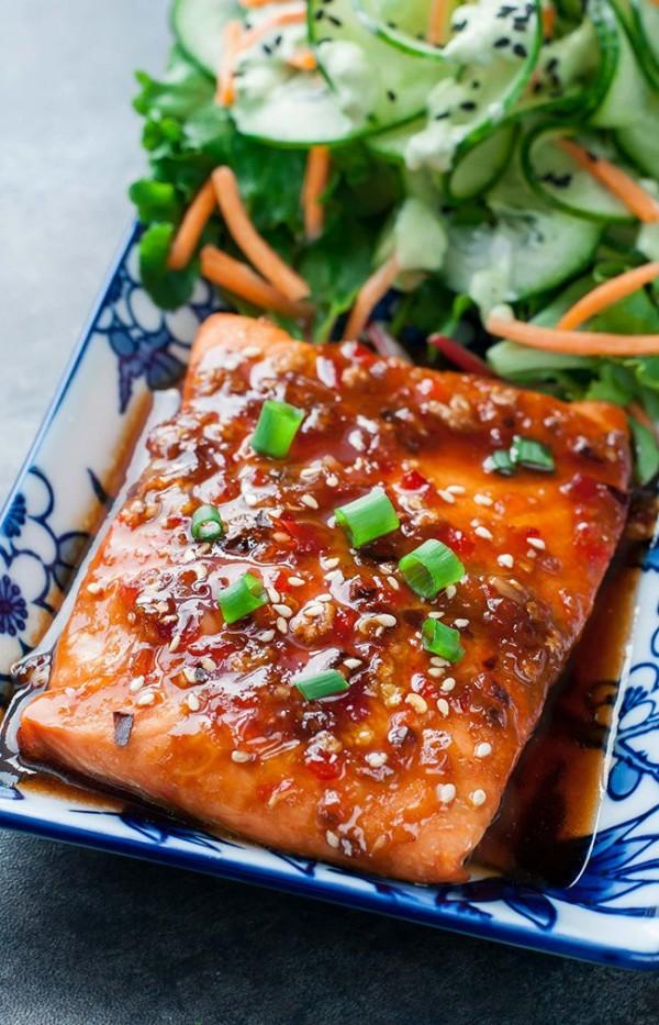 ... Sriracha Glazed Salmon with Wasabi Cucumber Salad | Peas and Crayons