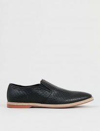 Topman Black Leather Weave Loafers