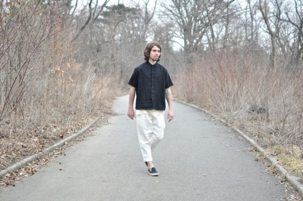 Dashiel Brahmann in a Looseleaf shirt, tank, and pants, all in washed linen, Vans slip-ons