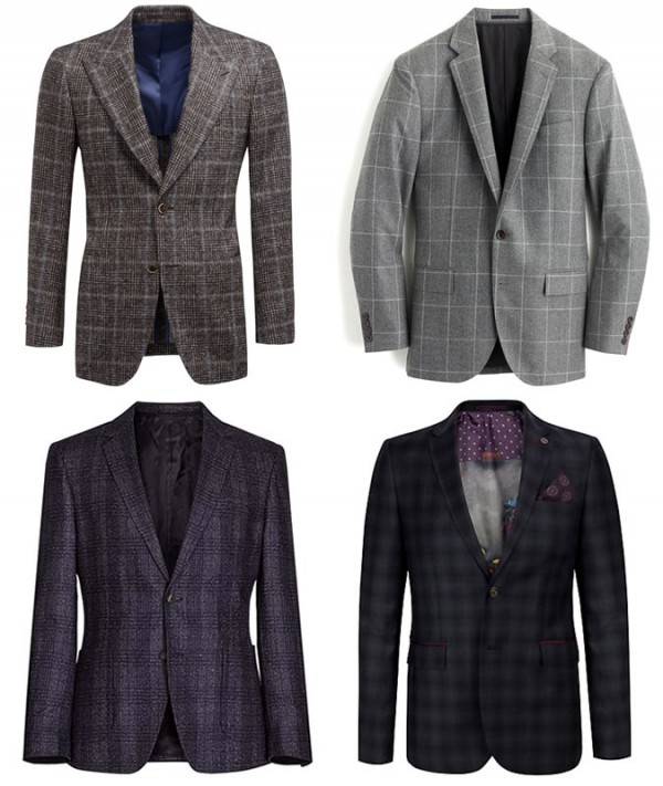 Men's Checked Blazers & Suits