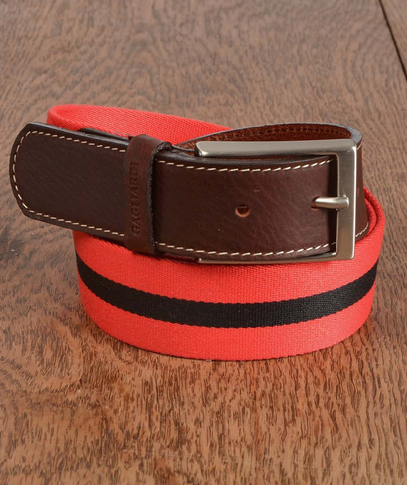A belt that mixes leather and cotton. From the Gagliardi Spring-Summer collection