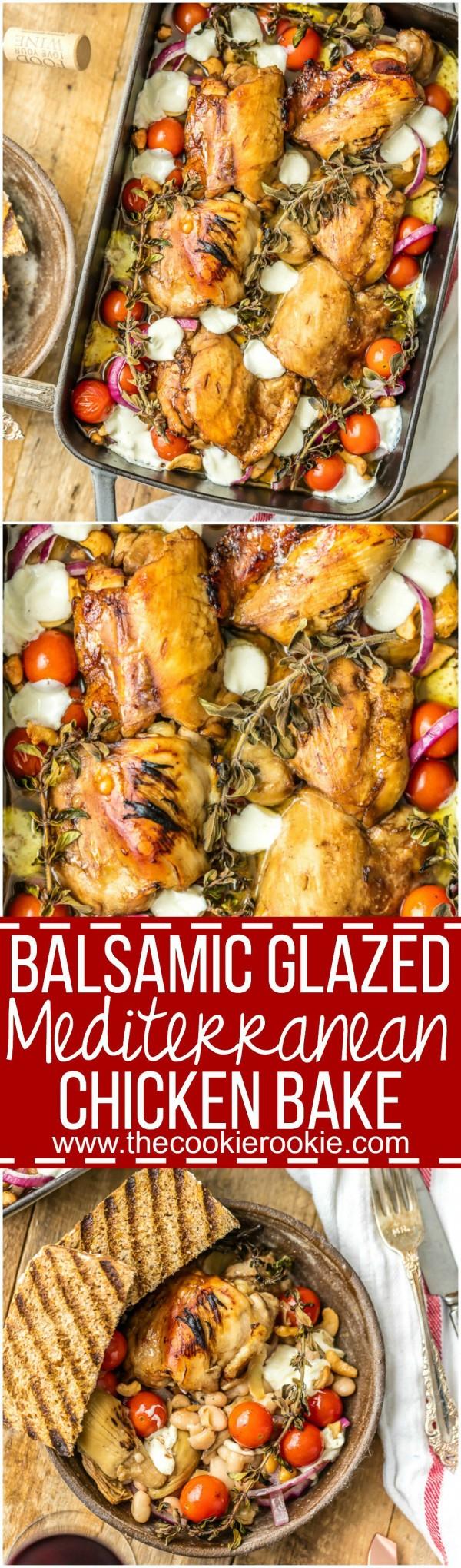 """Balsamic Glazed Mediterranean Chicken Bake is our favorite """"dump ..."""