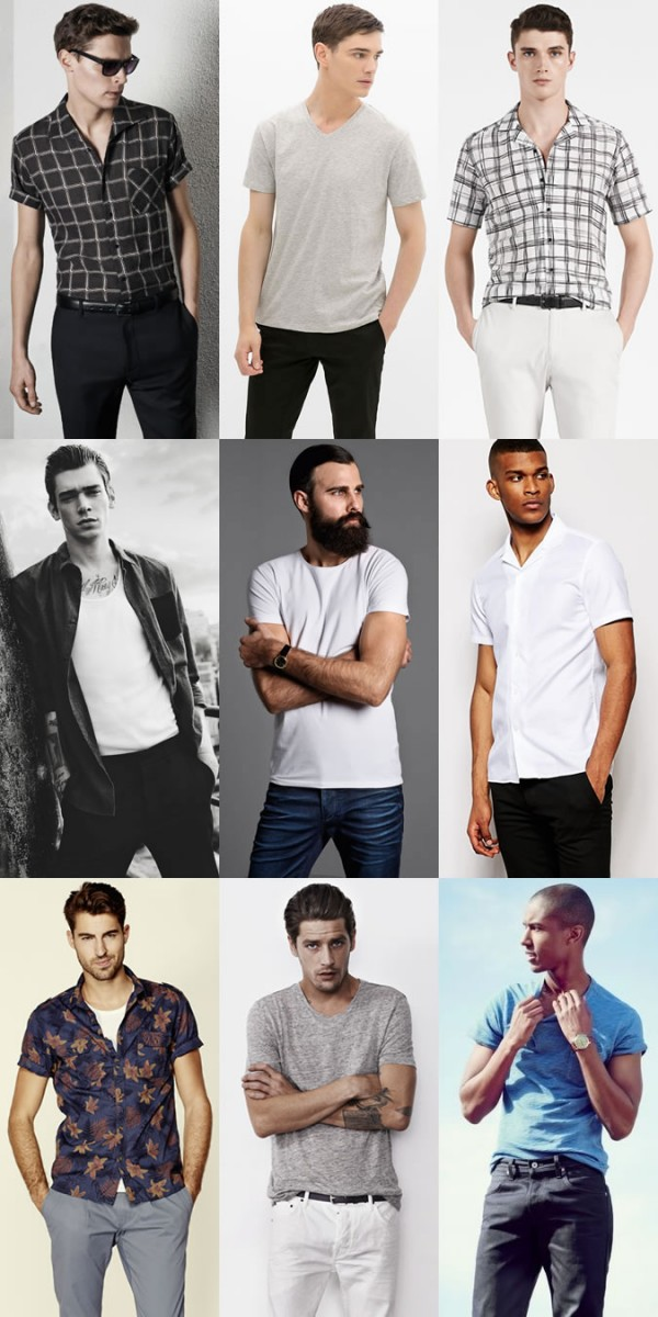 Men's Quality Fitted T-Shirts and Cuban Collar Shirts Outfit Inspiration Lookbook