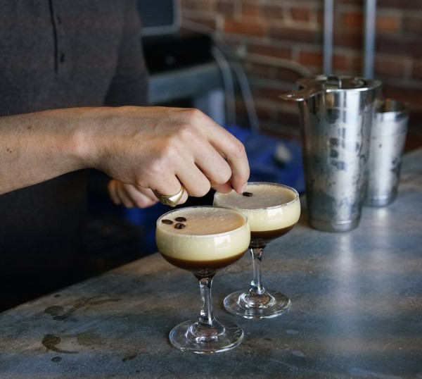 Two Espresso Martinis are born at Our / Los Angeles Vodka Distillery