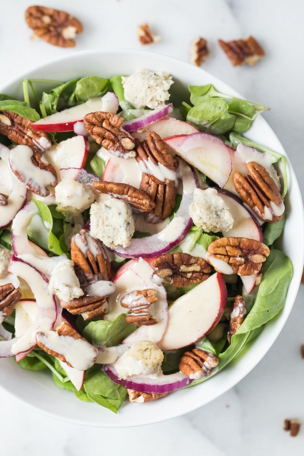 Apple + Pecan Arugula Salad! topped with herbed cashew cheese balls and a maple-tahini dressing!