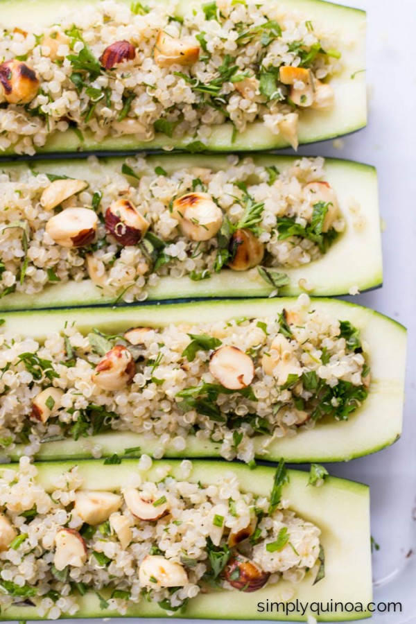 Quinoa Stuffed Zucchini Boats - a fresh, simple way to enjoy the end of summer | recipe on simplyquinoa.com