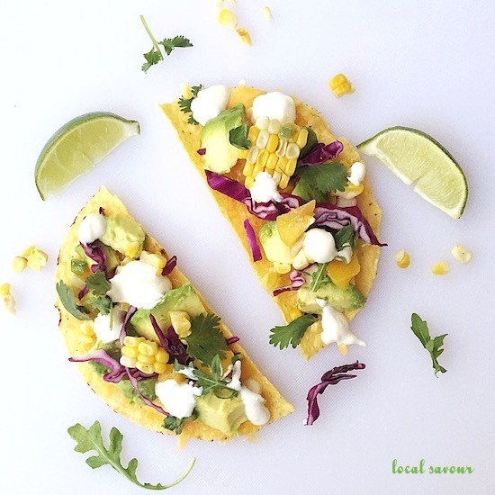 Grilled Corn, Avocado + Red Cabbage Open-Faced Tacos | LocalSavour.com