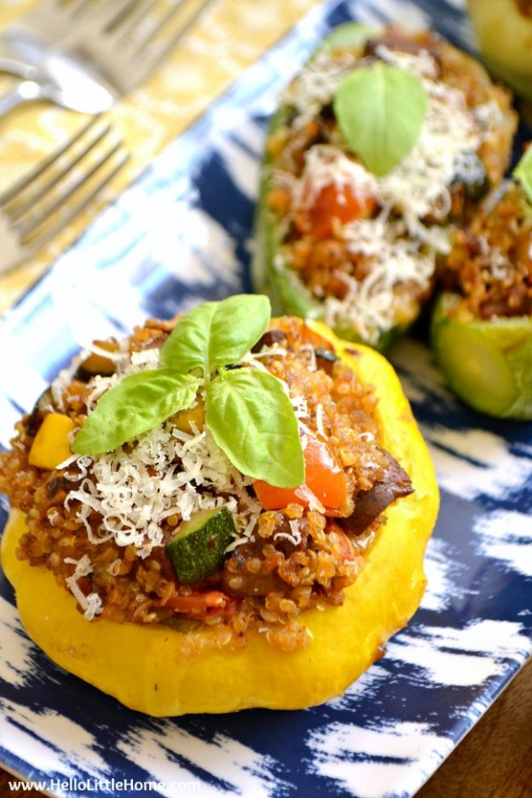 This delicious Vegetarian Quinoa and Sausage Stuffed Summer Squash is the perfect way to use up all that zucchini from your garden or farmers market! An easy stuffed vegetable recipe the whole family will enjoy, it's also vegan friendly with a few simple swaps. Make this tasty vegetarian summer dinner recipe tonight! | Hello Little Home