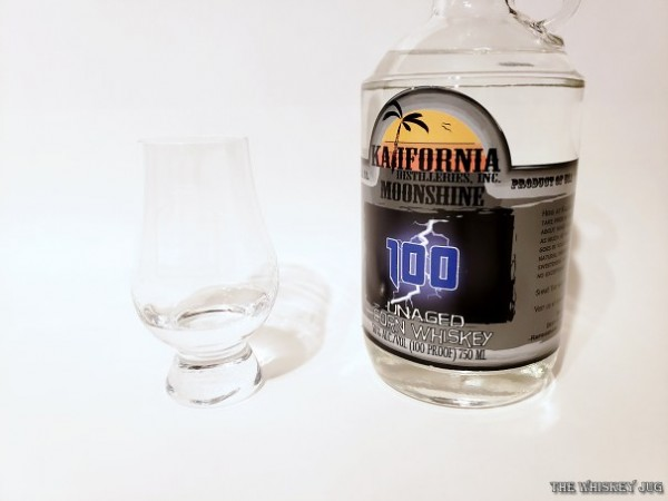 Kalifornia Distilleries Corn Whiskey is a 4x distilled moonshine from California