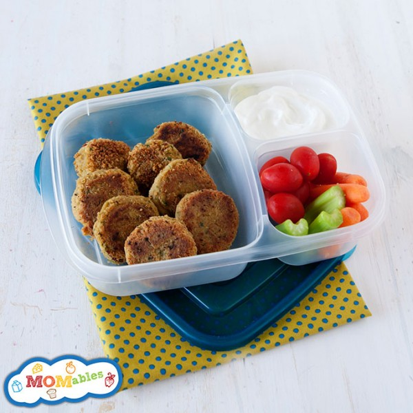 baked veggie falafels school lunch with veggies and yogurt tzatziki sauce