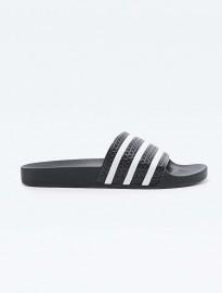 Adidas Adilette Stripe Pool Sliders In Black And White