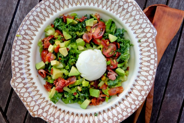 Big chopped salad with lemon poppyseed vinaigrette with a poached egg on eatlivetravelwrite.com