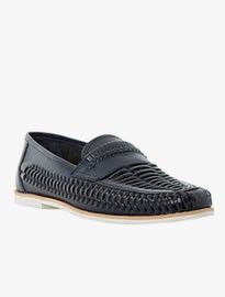 Bertie Bryant Park Leather Woven Moccasin Navy