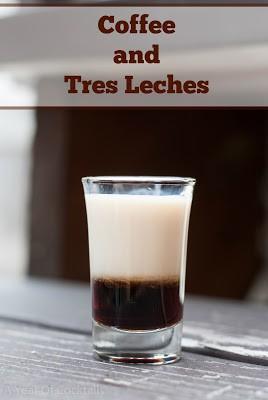 tres leches cocktail shot, tres leches liqueur, kahlua, coffee liqueur, layered shot