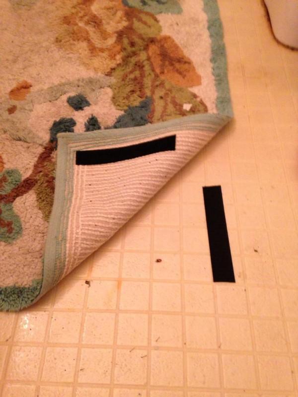 Velcro can help keep rugs tidy.