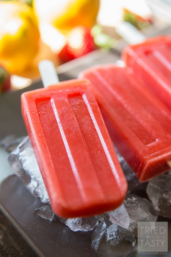 Sweet and Tart Strawberry Lemon Popsicles | Tried and Tasty