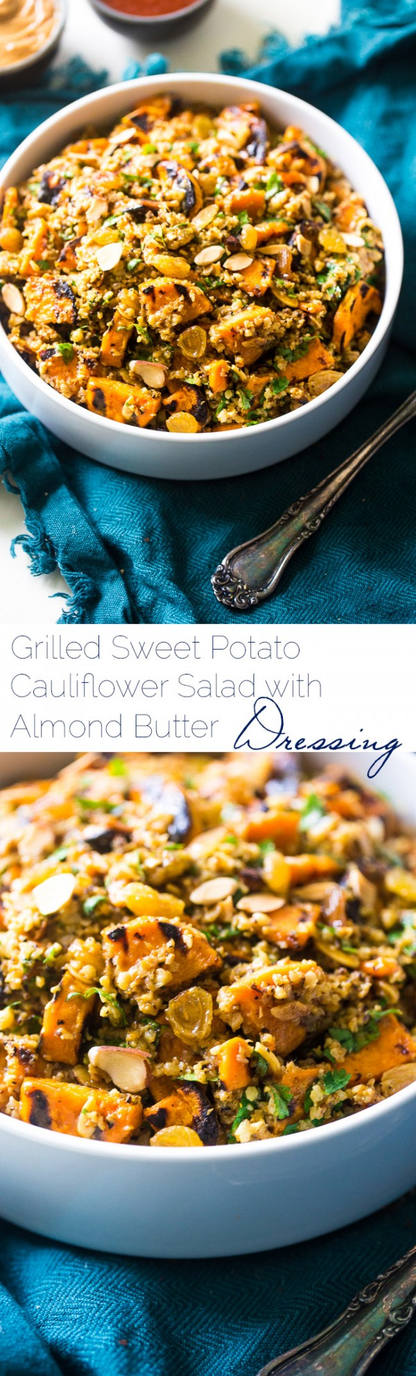 Grilled Sweet Potato Salad with Curry Almond Butter Vinaigrette - Grilled sweet potatoes, cauliflower rice and creamy almond butter make this a healthy, Paleo & Vegan-friendly side dish for the Summer! | Foodfaithfitness.com | @FoodFaithFit