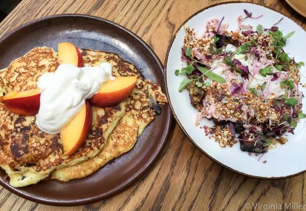 Horsefeather brunch (L: pancakes; R: pastrami hash)