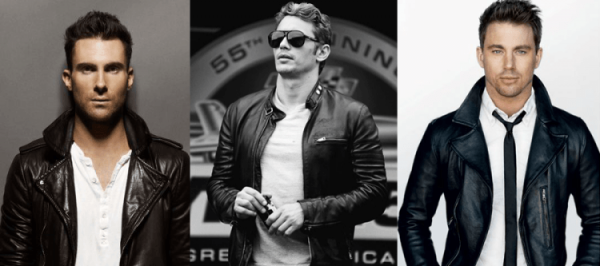 Adam Levine, James Franco and Channing Tatum in leather jackets