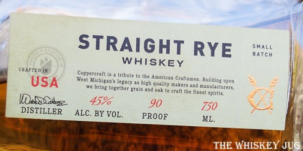 Coppercraft Rye Whiskey Label