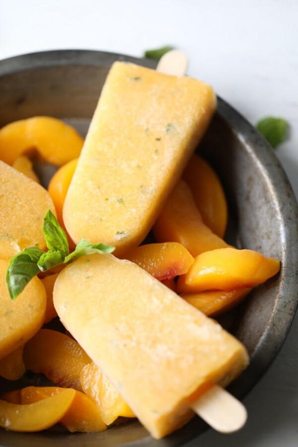 Basil Peach Margarita Popsicles   Lemons for Lulu
