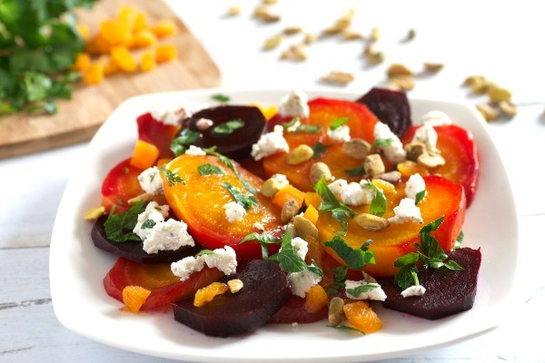 eating with this Beet Salad with Goat Cheese, Apricots, and Pistachios ...