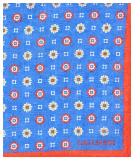 BLUE & RED GEOMETRIC POCKET SQUARE