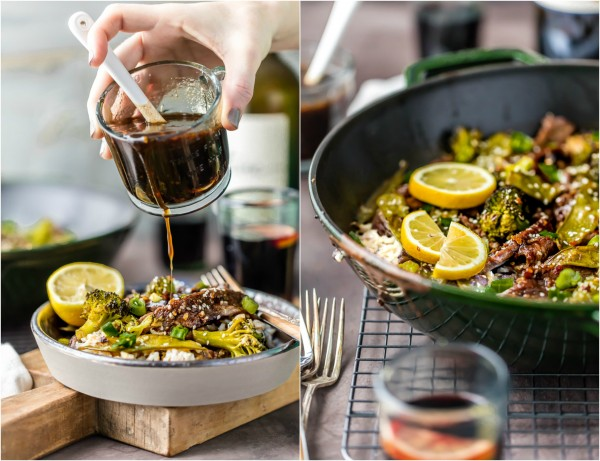 ONE PAN MONGOLIAN BEEF with broccoli, snow peas, and rice, all in ONE SKILLET! This PF Changs copycat recipe is FABULOUS! You don't need to leave your house to have amazing Chinese food! MUST MAKE EASY RECIPE!