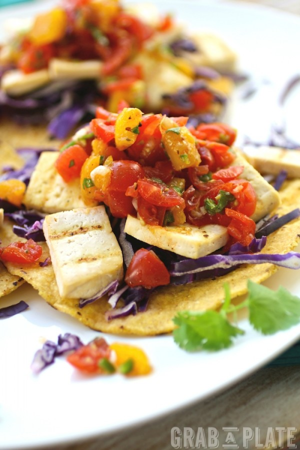 Perfect for a Meatless Monday meal: Grilled Tofu Tostadas with Tomato-Mango Salsa