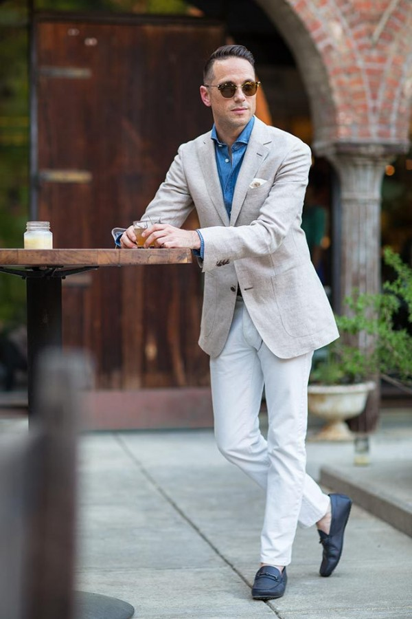 Suitsupply Blazer White Denim - He Spoke Style