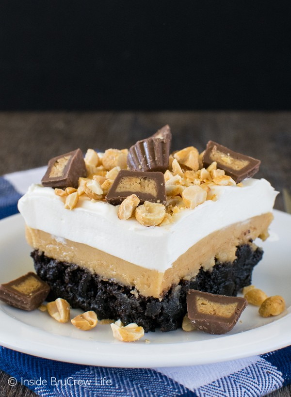 Sweet layers of pudding and peanut butter make this Peanut Butter Brownie Dessert a favorite. Great dessert recipe!