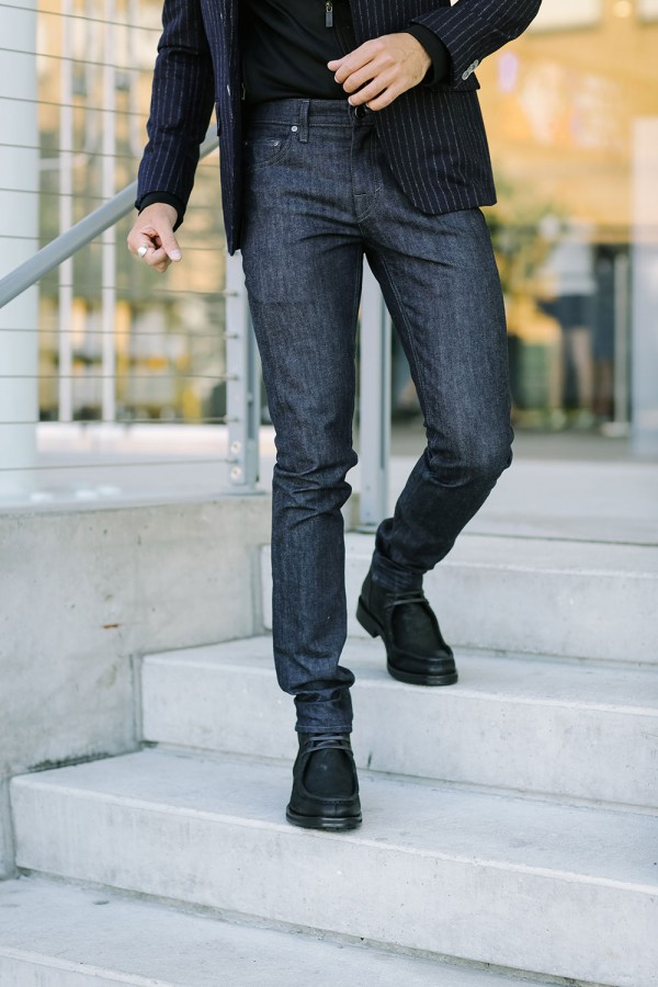 Indigo denim, chalk stripe blazer and boots