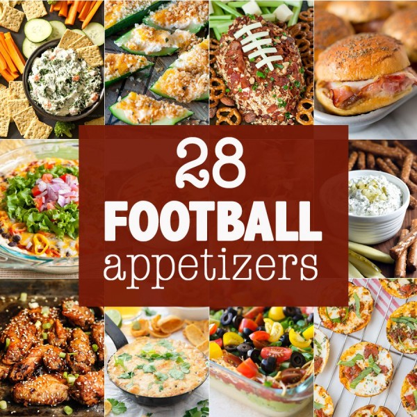 28 of the BEST FOOTBALL APPETIZERS! Snacks for tailgating, partying, and watching football! Savory and sweet apps for football season. THE BEST!