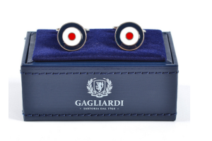 CIRCULAR NAVY WITH WHITE & RED CUFFLINKS