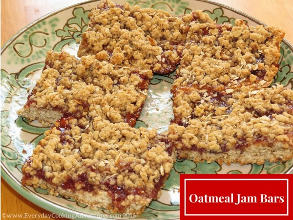 Oatmeal Strawberry Jam Bars ©EverydayCookingAdventures2016-2
