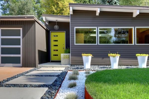 modern grey house garden landscape