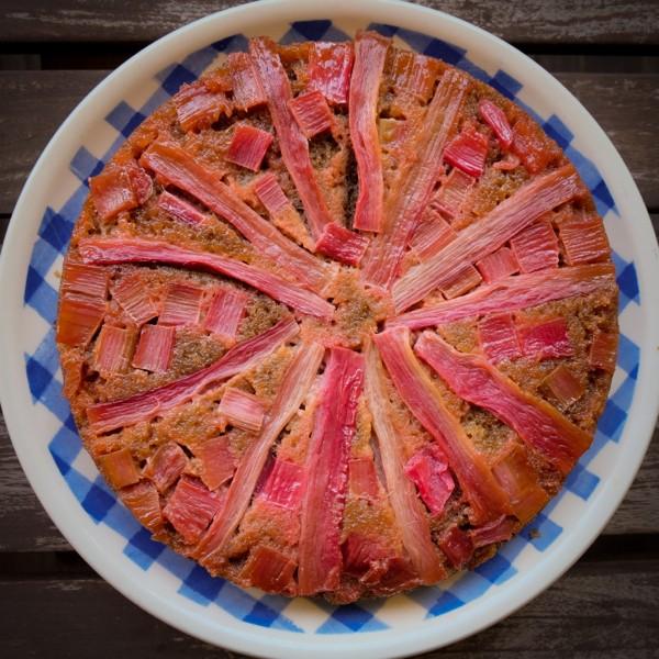 Simple upside down rhubarb cake on eatlivetravelwrite.com