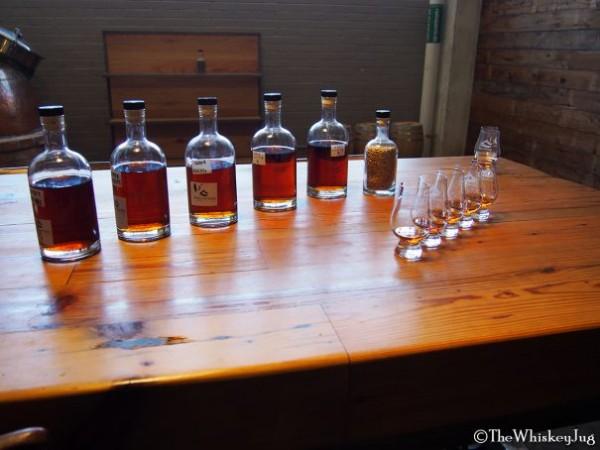 Samples for a barrel pick at Balcones Distillery