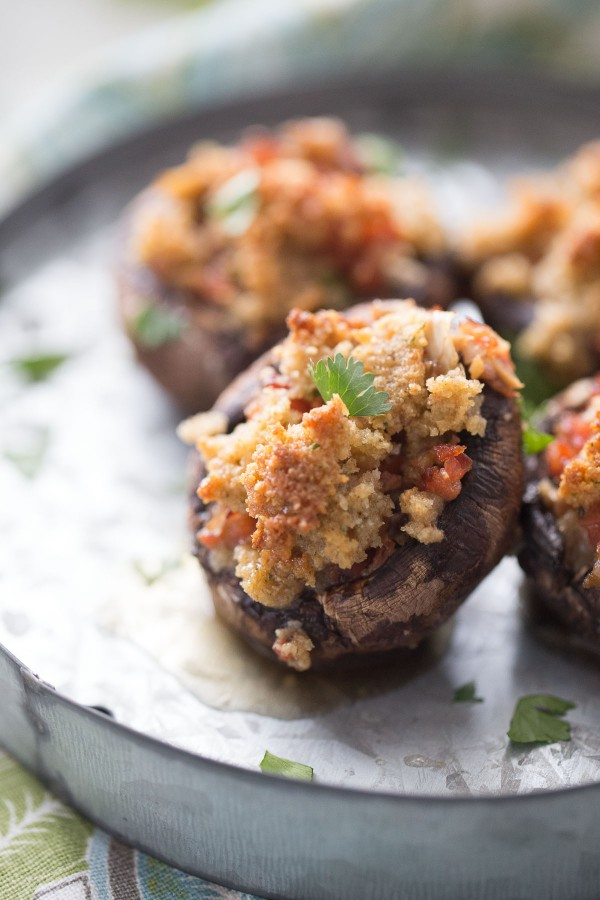 Easy stuffed mushrooms stuffed with andouille sausage, veggies, and ...