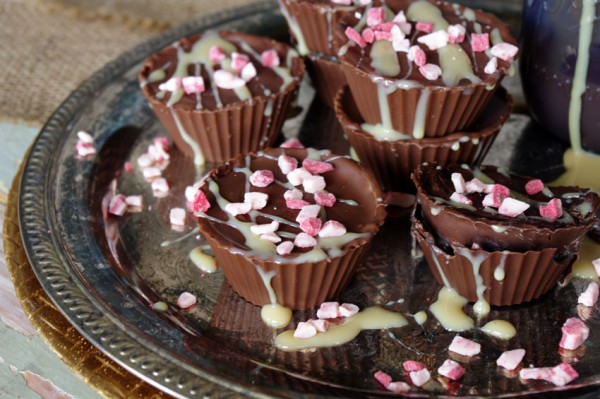 Caramel Chocolate Cups with Peppermint Chips