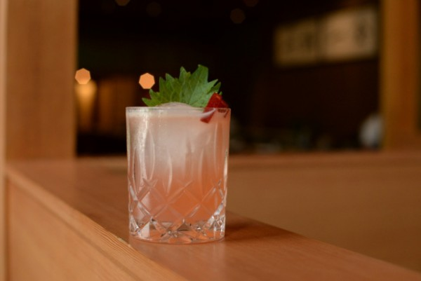 (red) Drank - Pluot Infused Belvedere Vodka - Lemon - Shiso - Yellow Chartreuse
