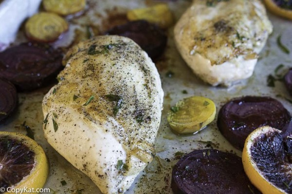 Make easy to prepare chicken and roasted vegetables in your oven in about a half an hour.