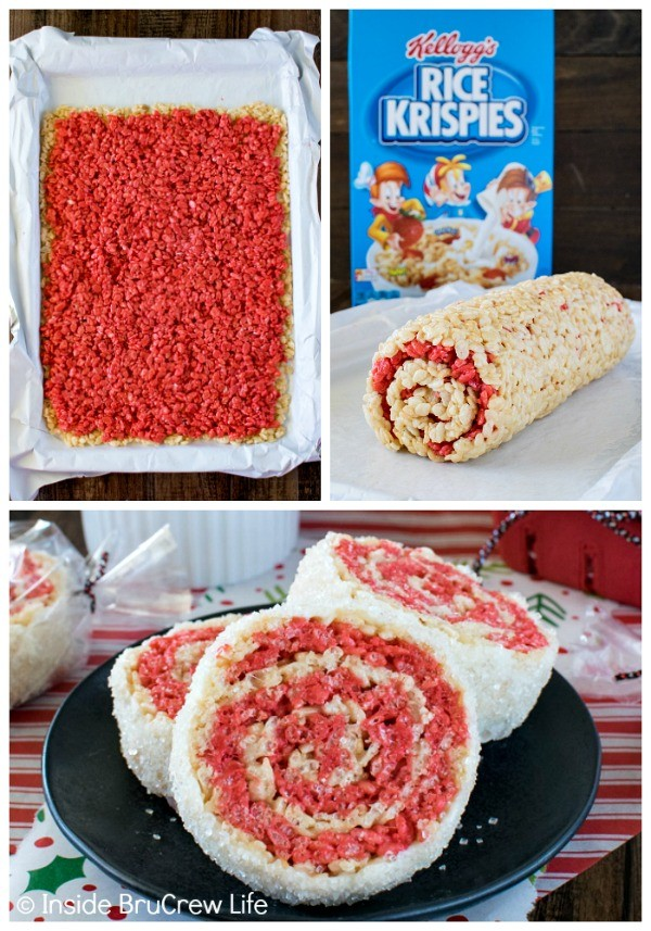 Peppermint Rice Krispies Pinwheels - this easy no bake recipe makes a fun treat for holiday cookie trays