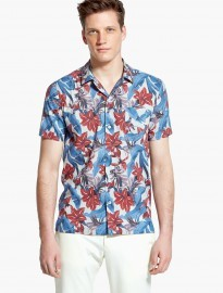 He By Mango Slim-fit Short Sleeve Tropical-print Shirt