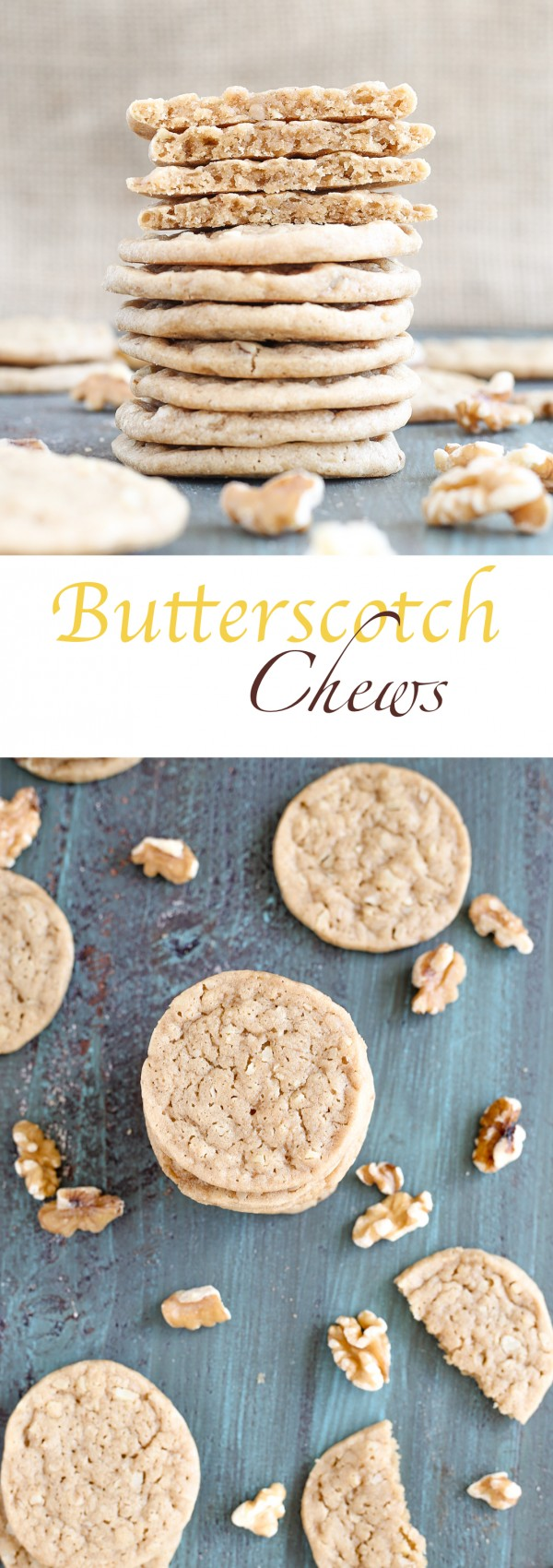 These easy Butterscotch chews combine the chew and brown sugar flavors of blondies with a little holiday ginger spice!   Chewy, nutty, addicting.