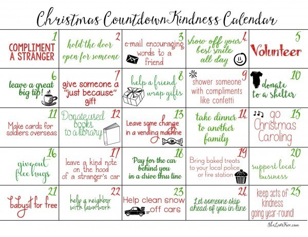 Christmas Countdown Ideas.Simple Acts Of Kindness Ideas For Kids Of All Ages